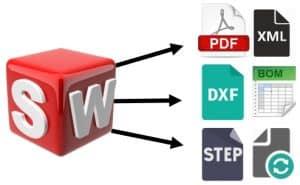 SolidWorks, massaoperaatiot, suunnittelukaaos, massatallennus, formaatti, pdf, excel, dxf, xml, step
