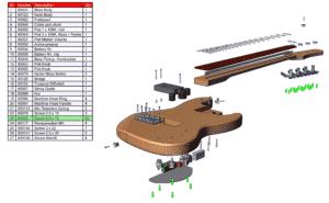 SolidWorks, Composer, KOGuitars, tekninen dokumentaatio, asennusohje, osaluettelo
